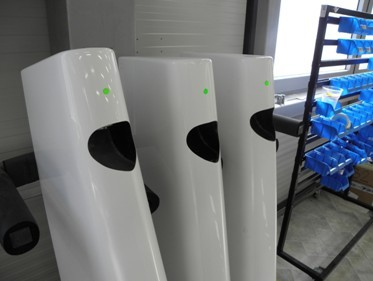 Pipistrel aircraft rudders waiting for installation in production