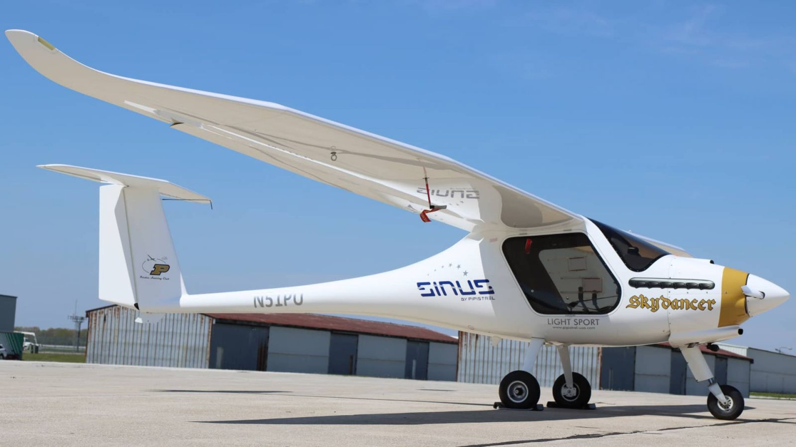 This Pipistrel aircraft at the Purdue University Airport can be modified for use in the Able Flight program, providing flight training to would-be pilots with disabilities.